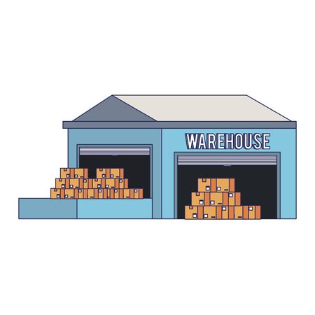 Illustration for Warehouse storage with delivery boxes inside vector illustration - Royalty Free Image