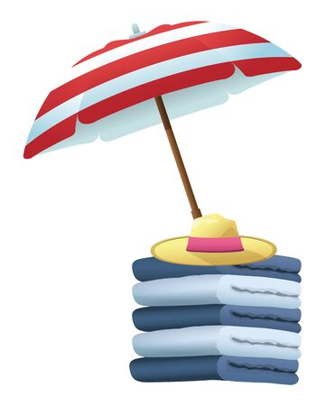 Illustration for cotton towels piled up with summer hat under umbrella cartoon ,vector illustration graphic design. - Royalty Free Image