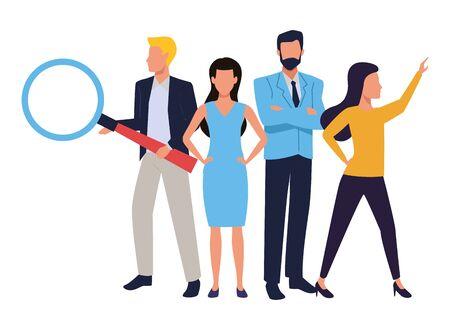 Photo pour Group of business partners with business and symbols, executive entrepreneur teamwork ,vector illustration graphic design. - image libre de droit
