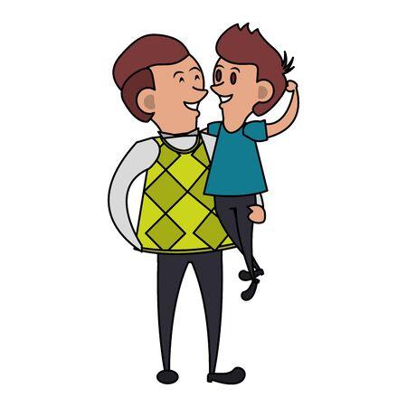 Illustration pour fathers day family celebration, father with son cartoon vector illustration graphic design - image libre de droit