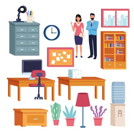 Illustration for business professional executive office successful work, couple teamwork working for project idea set cartoon vector illustration graphic design - Royalty Free Image