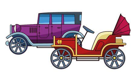 Illustration pour Vintage and classic cars antique vehicles vector illustration graphic design. - image libre de droit
