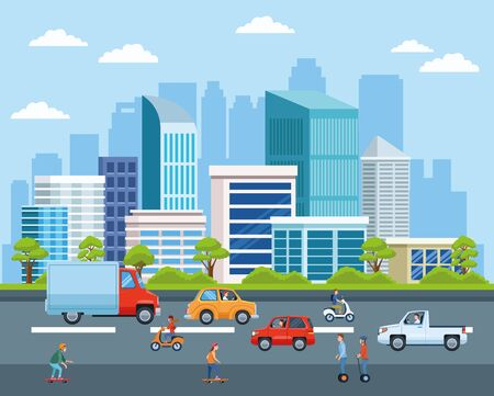 Illustration pour City transportation and mobility, citizens riding differents vehicles on the street with cityscape view cartoons. vector illustration graphic design. - image libre de droit