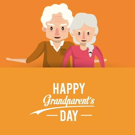 Illustration for Happy grandparents day card with grandfather and grandmother couple cartoons vector illustration graphoc design. - Royalty Free Image