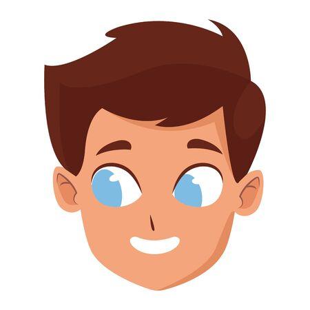 Ilustración de adorable cute young boy face with brown hair and blue eyes happy childhood cartoon vector illustration graphic design - Imagen libre de derechos