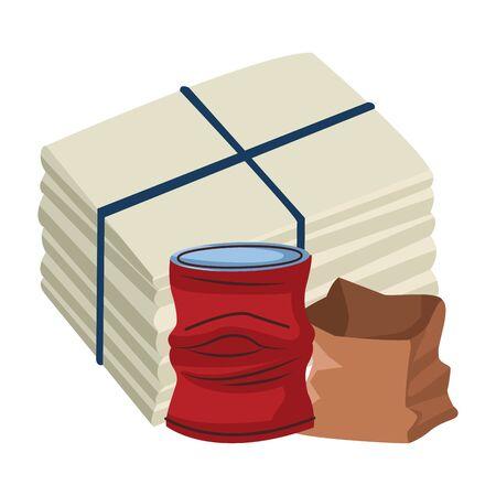 Illustration pour crumpled aluminum soda can, paper bag and paper pile moored icon cartoon vector illustration graphic design - image libre de droit
