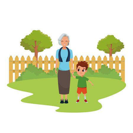 Illustration for Family grandmothertaking care of grandson cartoon in nature park outdoors scenery background ,vector illustration graphic design. - Royalty Free Image