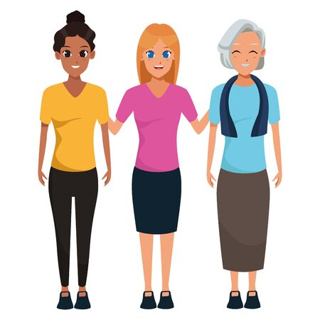Illustration pour Family old mother with adultt granddaugthers vector illustration graphic design - image libre de droit