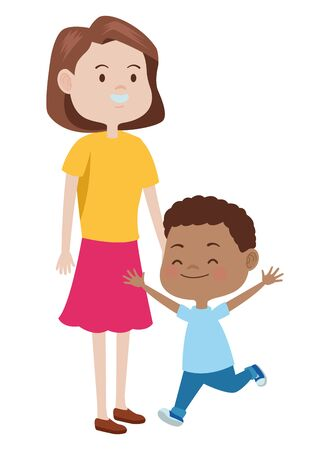 Illustration for Family single mother playing and smiling with afroamerican son cartoon ,vector illustration graphic design. - Royalty Free Image
