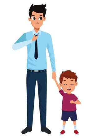 Illustration for Family single father and little son smiling cartoon vector illustration graphic design - Royalty Free Image