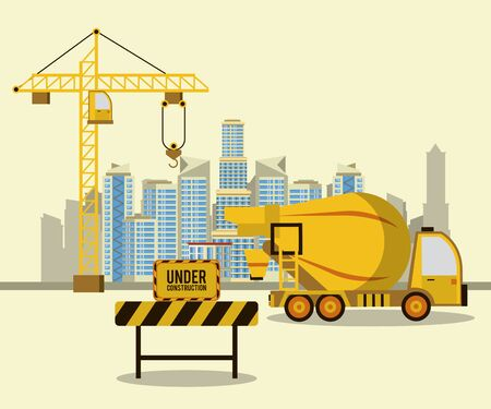 Illustration for Cement truck in construction zone scenery vector illustration graphic design - Royalty Free Image