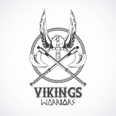 Photo pour Vikings warriors and medieval drawings weapons, printed Tshirt templates, clothes and fashion styles. vector illustration graphic design - image libre de droit