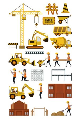 Illustration for Set of under construction icons, workers and machinery, buildings and hard work. vector illustration graphic design - Royalty Free Image