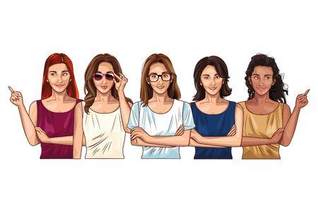 Illustration for Pop art beautiful women models smiling cartoons ,vector illustration graphic design. - Royalty Free Image