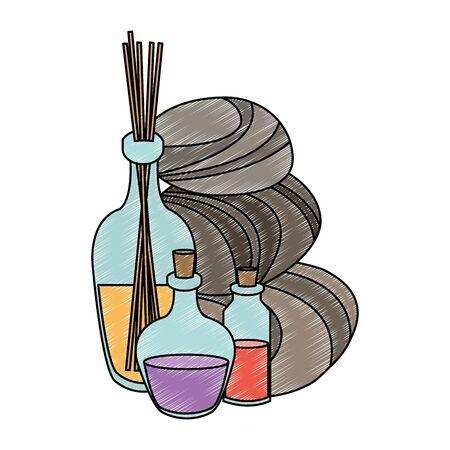 Illustration pour Spa oil bottles with flower on pot vector illustration graphic design - image libre de droit