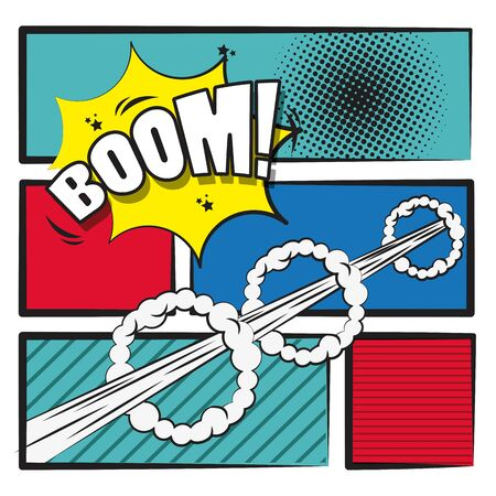 Illustration for Comic story with bombs and explosions on frames, pop art cartoons. ,vector illustration. - Royalty Free Image