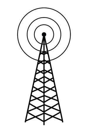 Illustration pour wireless internet and radio technology modern connection telecommunication antenna tower cartoon vector illustration graphic design - image libre de droit