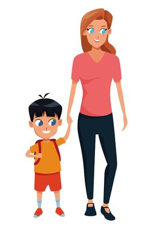 Illustration for Family single mother with kid son holding school backpack isolated vector illustration graphic design - Royalty Free Image