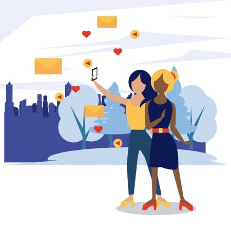 Illustration pour People and social media and network, women friends taking a selfie with smartphone at city - image libre de droit