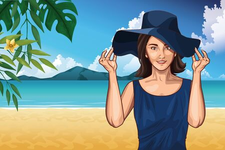 Illustration for Pop art woman with fashion hat in the beach scenery on sunny day ,vector illustration. - Royalty Free Image