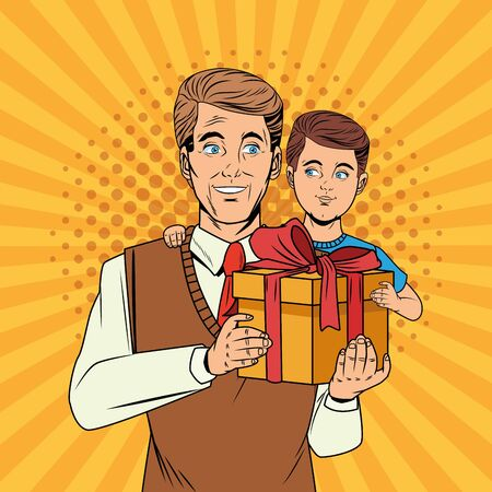 Illustration pour Pop art father and son with gift box cartoon over yellow striped background vector illustration graphic design - image libre de droit