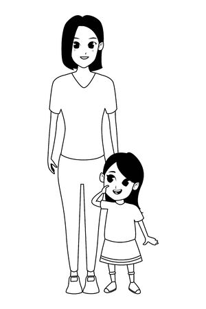 Illustration for Family single mother with little daughter cartoon vector illustration graphic design - Royalty Free Image