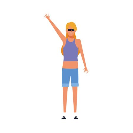 Ilustración de cool girl standing with arm up and wearing sunglasses over white background, vector illustration - Imagen libre de derechos