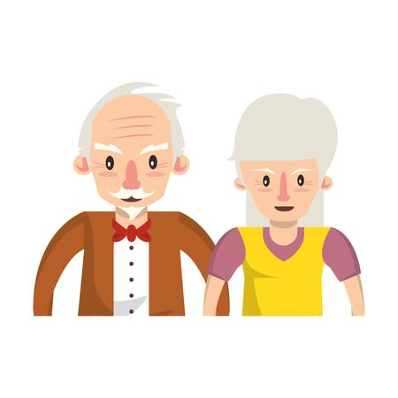 Illustration for grandparents senior old retirement people grandmother and grandfather couple love cartoon vector illustration graphic design - Royalty Free Image