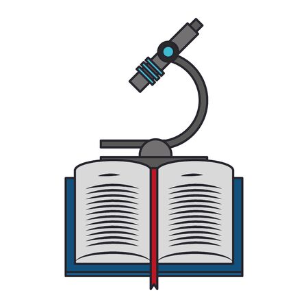 Illustration pour book and microscope icon over white background, vector illustration - image libre de droit