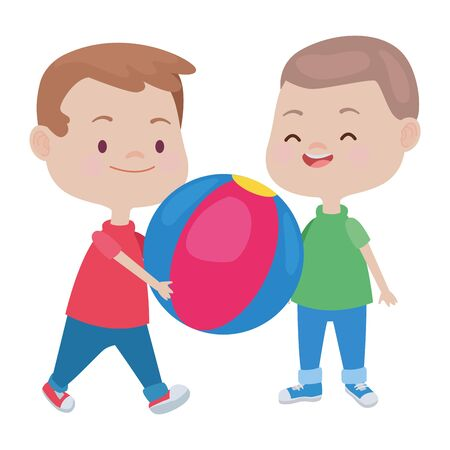 Illustration pour happy kids boys playing and having fun with ball vector illustration graphic design. - image libre de droit