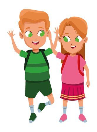Ilustración de adorable cute children, girl with a boy school students wearing backpack happy childhood cartoon vector illustration graphic design - Imagen libre de derechos