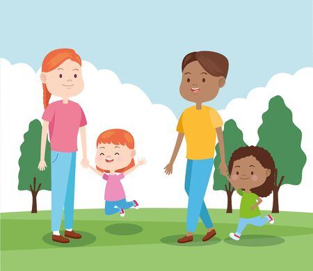 Illustration pour happy family with their daughters in the park, colorful design , vector illustration - image libre de droit