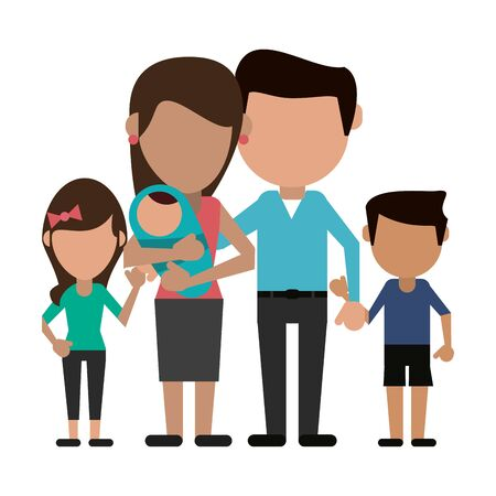 Illustration for Family avatar father and mother with kids faceless cartoon vector illustration graphic design - Royalty Free Image