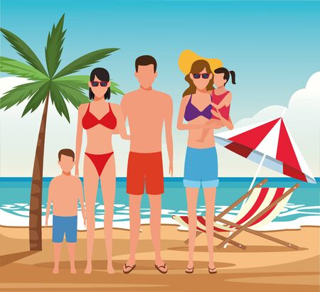 Illustration pour avatar family and woman with little kids at the beach, colorful design. vector illustration - image libre de droit