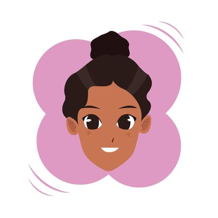 Young afroamerican woman face smiling cartoon on round colorful splash frame vector illustration graphic design.