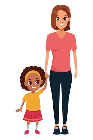 Illustration for Family single mother with daughter cartoon vector illustration graphic design - Royalty Free Image