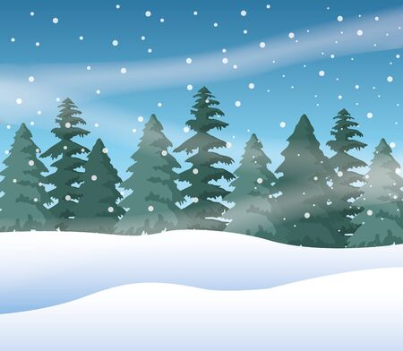Illustration pour forest snowscape scene nature icon vector illustration design - image libre de droit