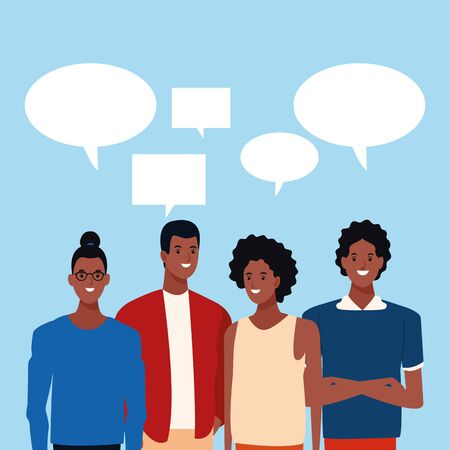 Illustration for speech bubbles on top of cartoon afro friends standing over blue background, colorful design. vector illustration - Royalty Free Image