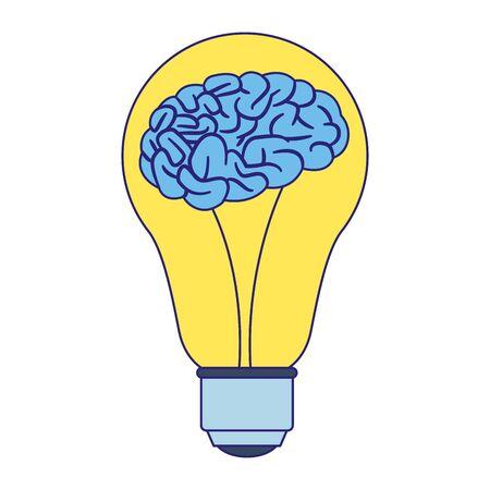 Illustration pour light bulb with brain icon over white background, vector illustration - image libre de droit