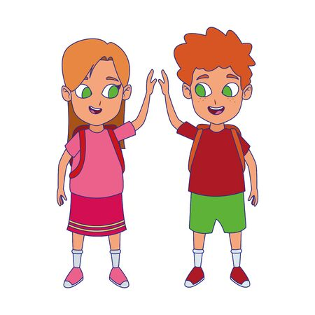 Illustration for cartoon happy kids with school backpacks over white background, colorful design , vector illustration - Royalty Free Image