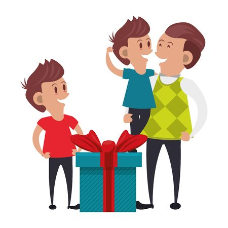 Illustration pour fathers day family celebration, father with children and gifts cartoon vector illustration graphic design - image libre de droit