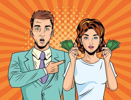 Ilustración de business couple with bills dollars pop art style characters vector illustration design - Imagen libre de derechos