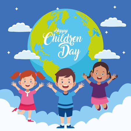 Illustration for happy children day with kids in the world planet vector illustration design - Royalty Free Image