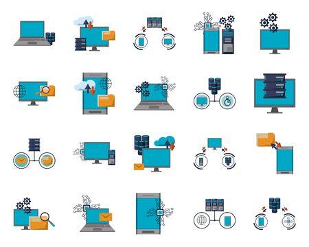 Illustration pour bundle of data center transfer information icons vector illustration design - image libre de droit