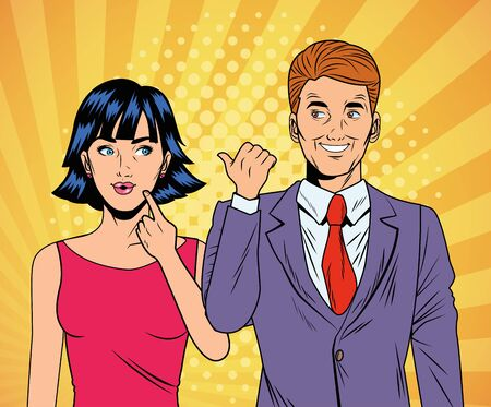 Ilustración de elegant business couple pop art style characters vector illustration design - Imagen libre de derechos