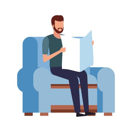 Illustration pour man reading a newspaper sitting on couch icon over white background, vector illustration - image libre de droit