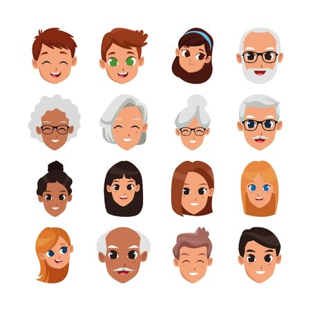 Illustration for cartoon people happy faces icon set over white background, vector illustration - Royalty Free Image