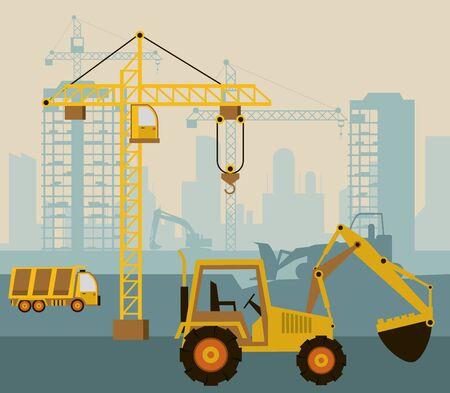 Illustration for under construction scene with excavator vector illustration design - Royalty Free Image