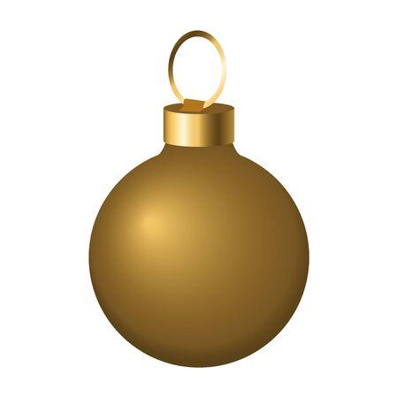 Illustration pour golden christmas ball icon over white background, vector illustration - image libre de droit