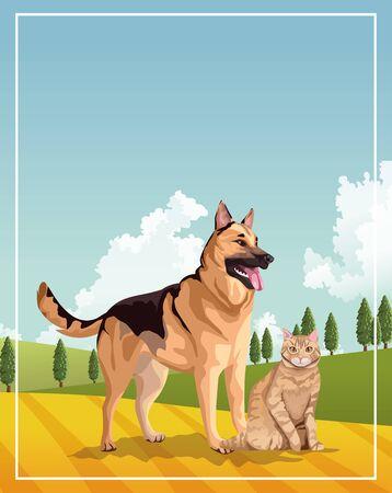 Illustration pour dog and cat mascots domestics in the field vector illustration design - image libre de droit